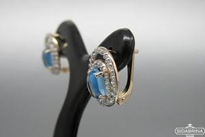 Auskarai su deimantais ir topazais - DAU007