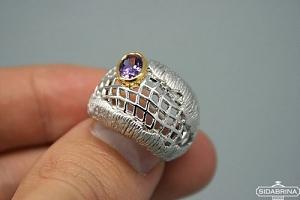 Žiedas su ametistu - ZDM418