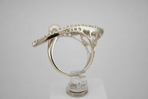 Žiedas su cirkoniais ir perlu - ZDM030