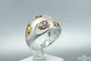 Žiedas su natūraliais akmenimis - ZDM683