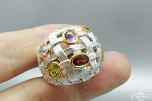 Žiedas su natūraliais akmenimis - ZDM911