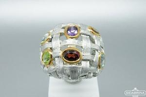 Žiedas su natūraliais akmenimis - ZDM979