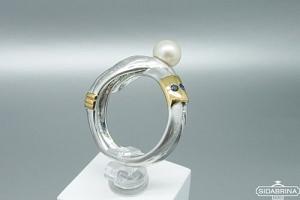 Žiedas su perlu ir safyrais - ZDM1254