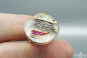 Žiedas su rožiniais safyrais - ZDM1305
