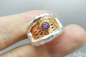 Žiedas su ametistu - ZDM991