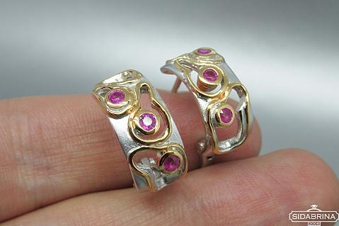 Auskarai su rubinais - AUM836