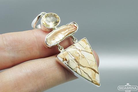 Pakabukas su natūraliais akmenimis - PAM679
