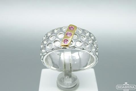 Žiedas su rožiniais safyrais - ZDM875