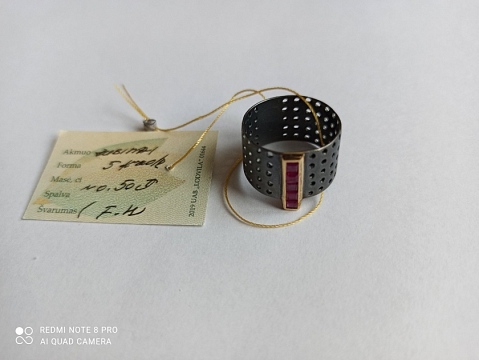 Žiedas su rubinu - ZDM1548