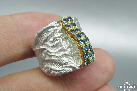 Žiedas su topazais - ZDM741