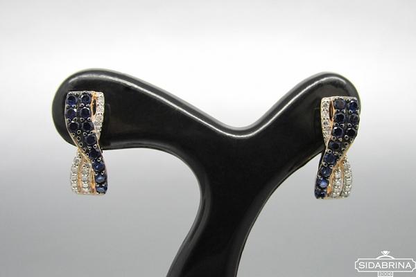 Auskarai su deimantais ir safyrais - DAU004