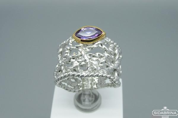 Žiedas su ametistu - ZDM602