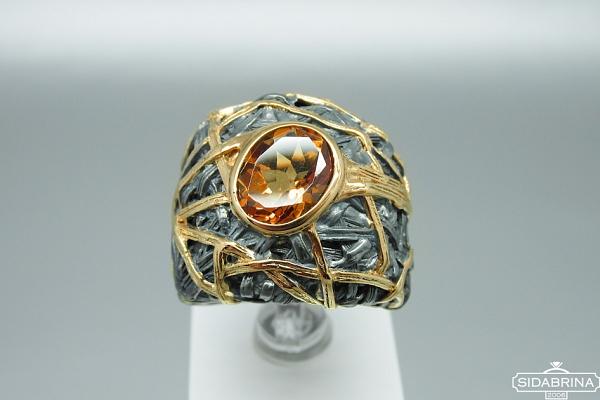 Žiedas su citrinu - ZDM1508