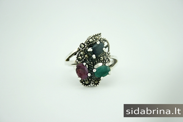 Žiedas su natūraliais juv. akmenimis - ZDM029