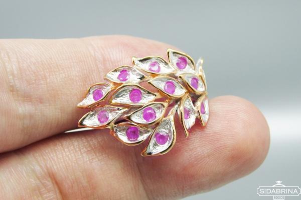 Žiedas su rožiniais safyrais - ZDM1307