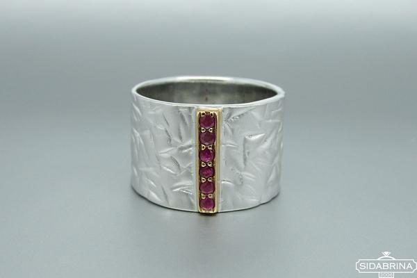 Žiedas su rubinais - ZDM714