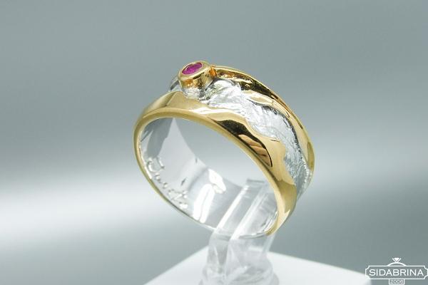 Žiedas su rubinu - ZDM1244