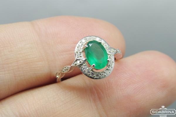 Žiedas su žaliu agatu - ZDM1010