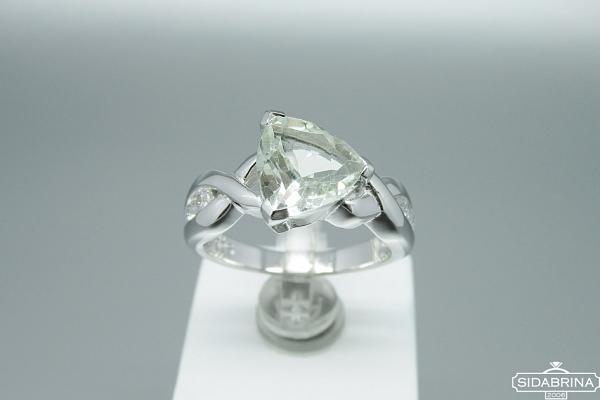 Žiedas su žaliu ametistu - ZDM1043